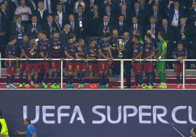 Pedro en la Supercopa de Europa