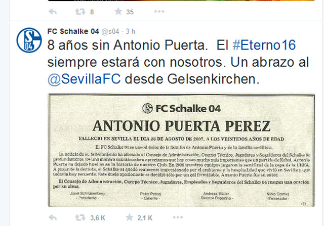 En el Schalke siguen acordándose de Antonio Puerta