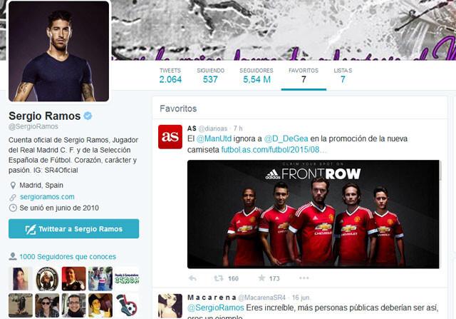 El misterioso tuit favorito de Sergio Ramos con el Manchester y De Gea