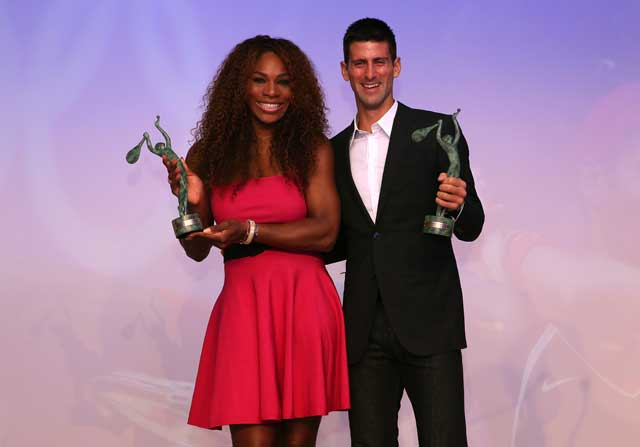 Novak Djokovic y Serena Willams Recibiendo el premio