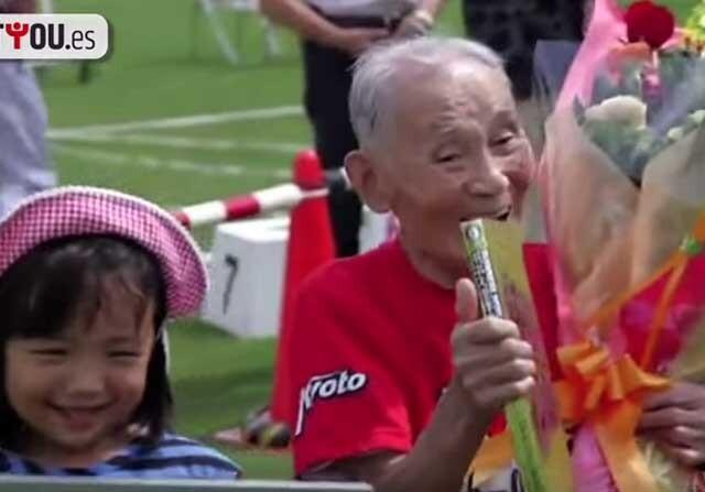 Abuelo japones gana los juegos para mayores de 105 años