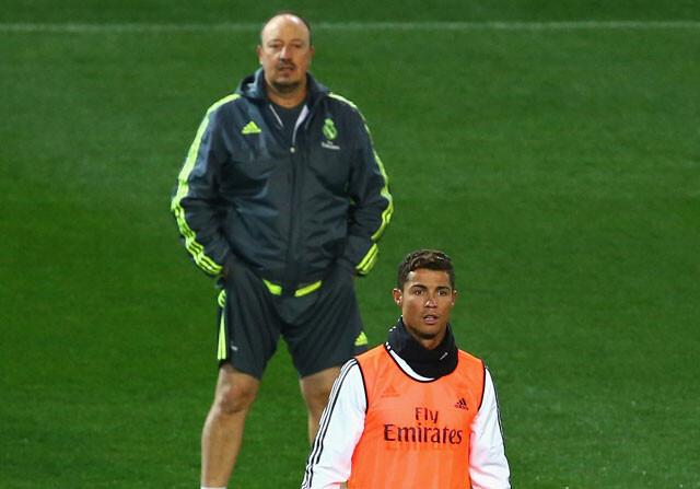 Benitez y Cristiano durante un entrenamiento