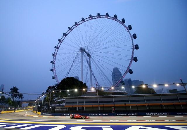 Kimi Raikkonen entrenado en Marina Bay