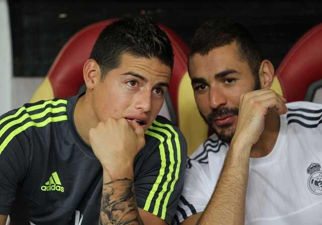 James y Benzema hablando