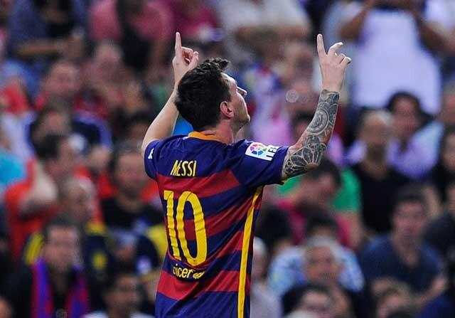 Leo Messi celebra un gol con el Barcelona