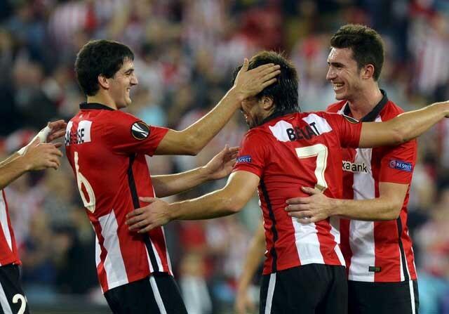 Los jugadores de Athletic de Bilbao celebrando un gol