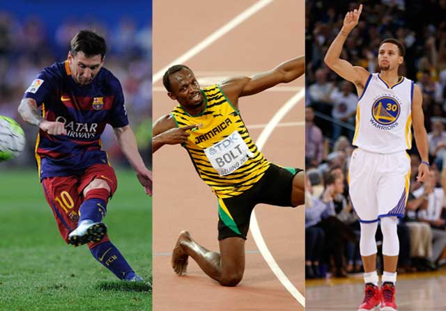 Messi, Bolt y Curry