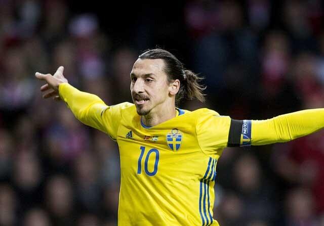 Zlatan Ibrahimovic celebrando un gol con Suecia