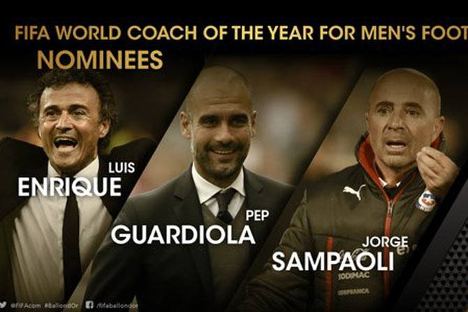 Guardiola, Sampaoli y Luis Enrique, candidatos a mejor entrenador
