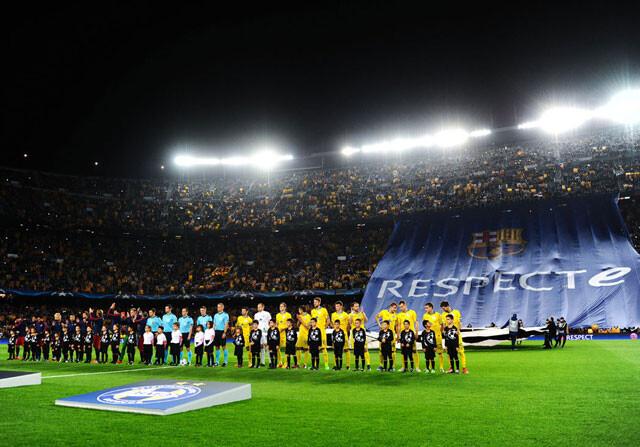 Pancarta de Respecte en el Camp Nou