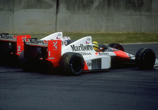 Ayrton Senna y Alain Prost en el GP de Japón de 1989
