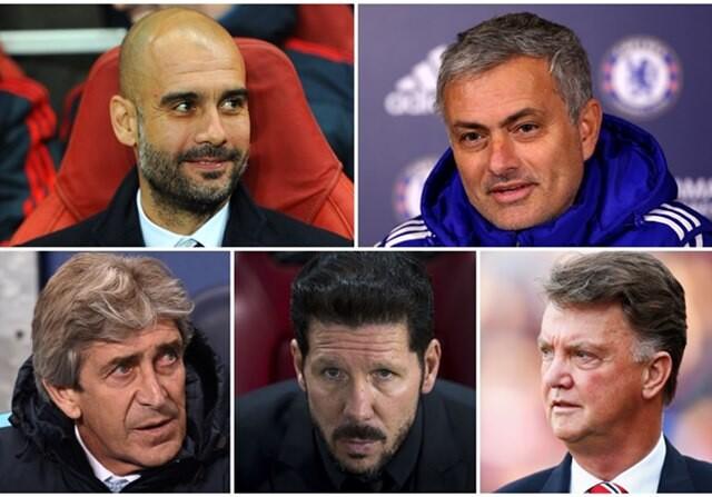 Entrenadores Europa Mourinho, Guardiola, Simeone, Van Gaal, Pellegrini