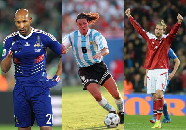 Nicolas Anelka, Fernando Redondo y Niklas Bendtner, con sus respectivas selecciones