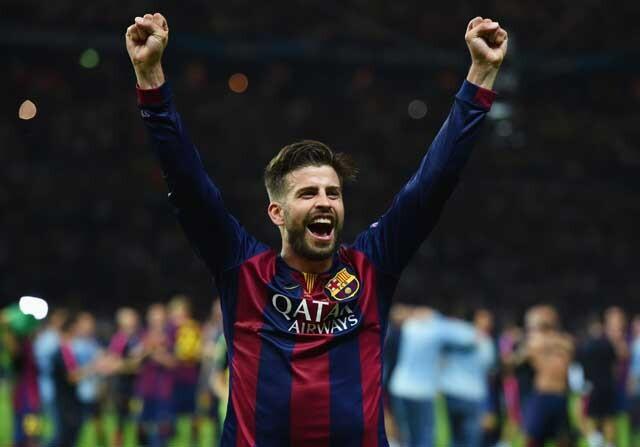 Gerard Piqué, en una celebración con el Barcelona