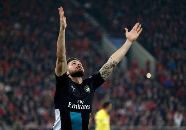 Olivier Giroud celebrando un gol con el Arsenal