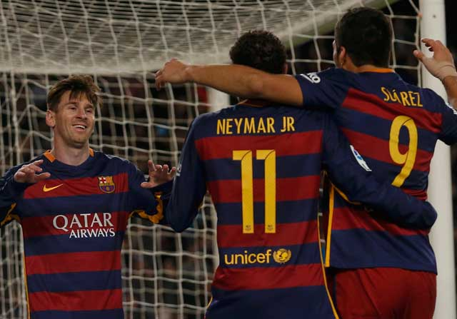 Messi, Neymar y Luis Suárez, la 'MSN' del Barcelona