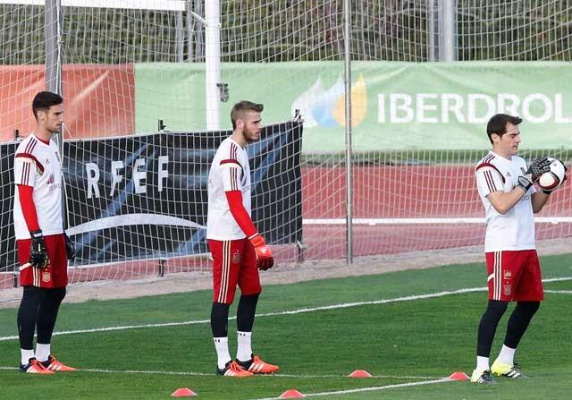 Iker Casillas, Sergio Rico y David de Gea