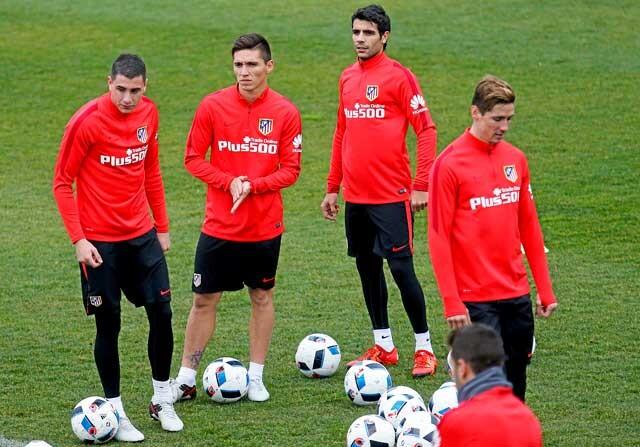 Jugadores del Atlético de Madrid en un entrenamiento