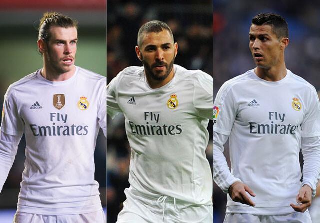 Bale Benzema y Cristiano con el Real Madrid
