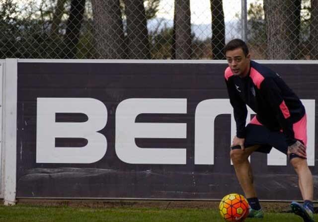 Dani Benítez, en su único entrenamiento con el Huesca