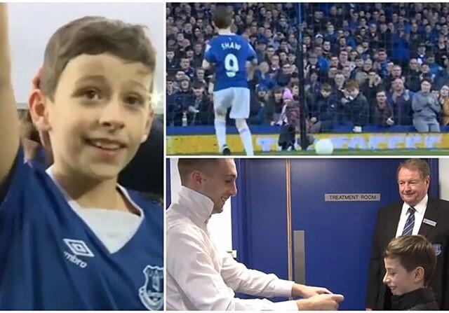 Deulofeu y niño Shaw del Everton