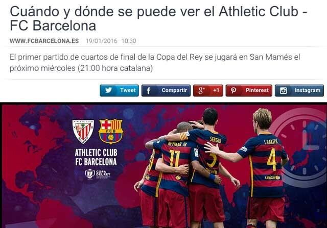 """El FC Barcelona anunció en su página web oficial el horario del partido  contra el Athletic Club """"en hora catalana"""". Pese a que el huso horario de  Cataluña ... c42d694acf7"""