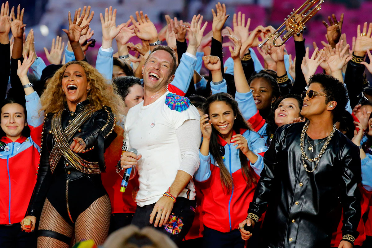 Beyonce, Bruno Mars y Coldplay