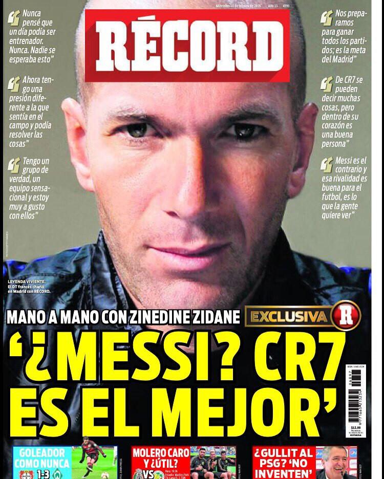 zinedine zidane, entrevista en record