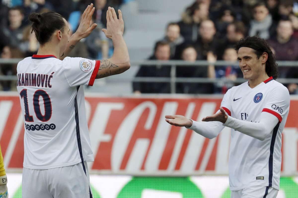 Zlatan Ibrahimovic y Edinson Cavani