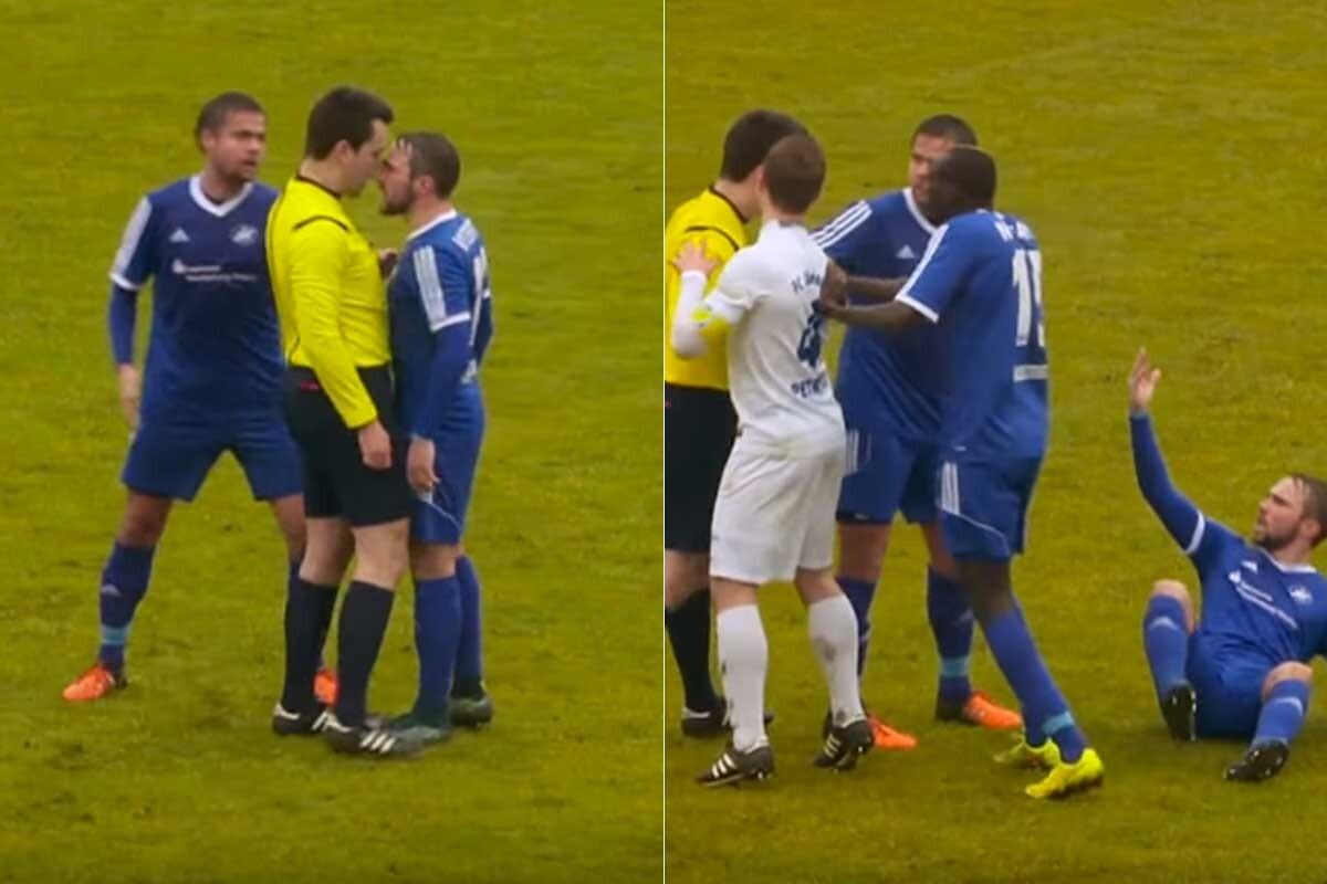 Un árbitro de la quinta división alemana casi agrede a un jugador