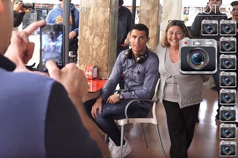 cristiano ronaldo sale a tomat te y no paran de hacerle fotos