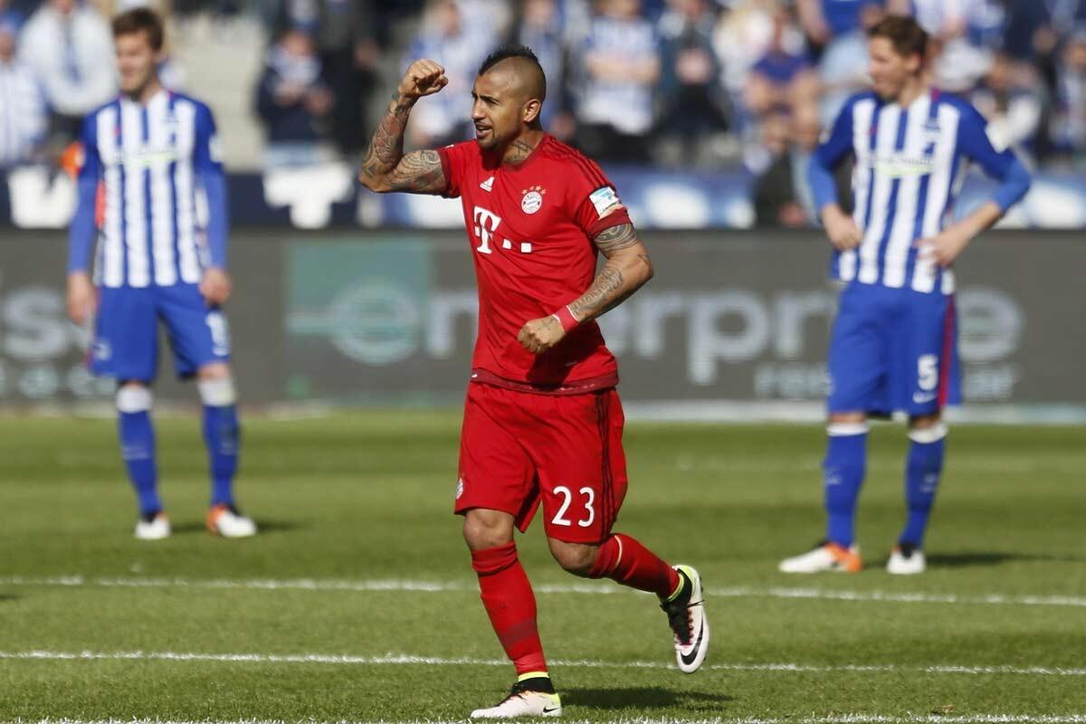 Arturo Vidal, en el Hertha Berlin vs Bayern de Munich