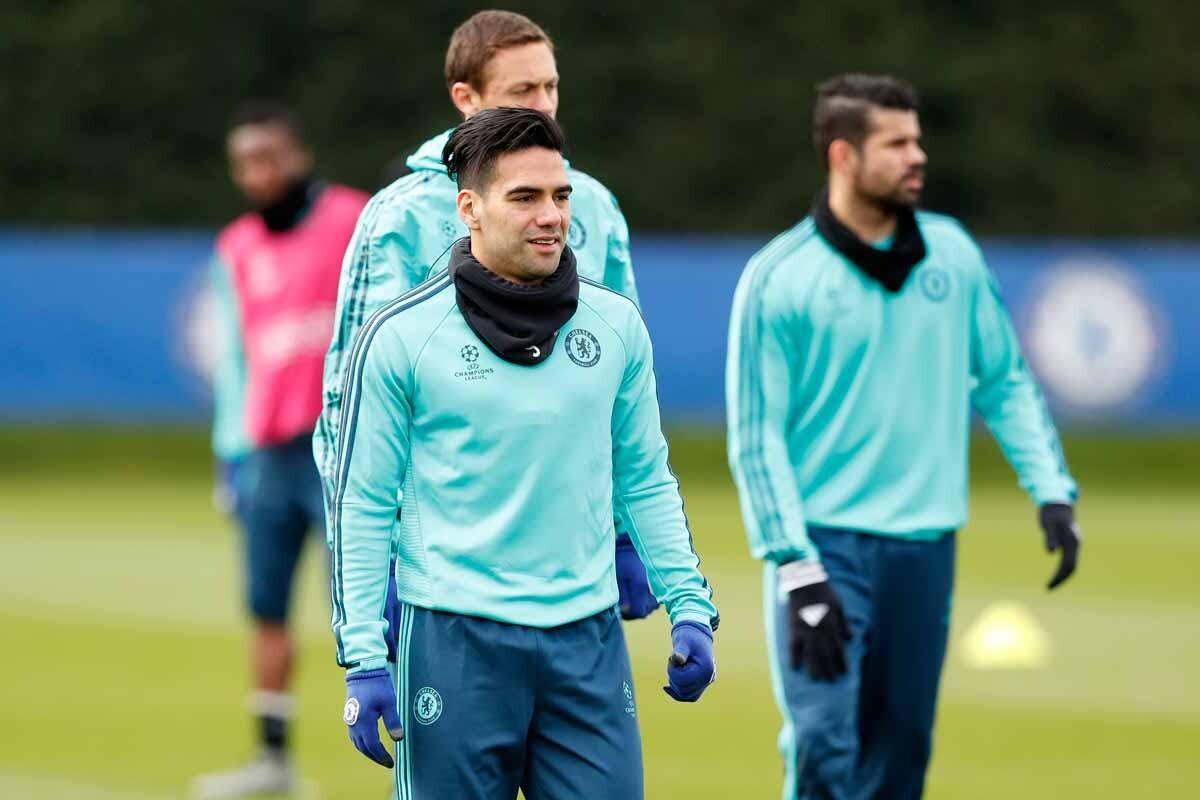Falcao entrenando con el Chelsea
