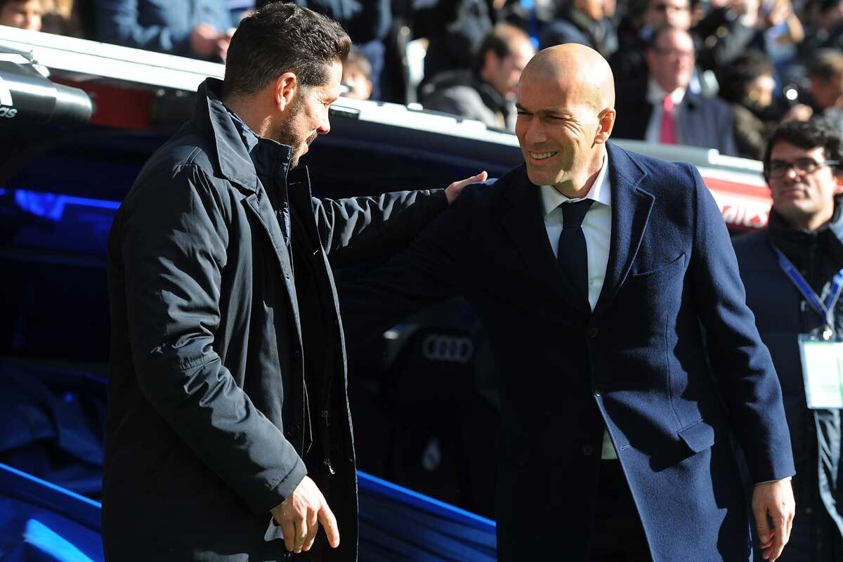 Simeone y Zidane, en un Real Madrid vs Atlético de Madrid