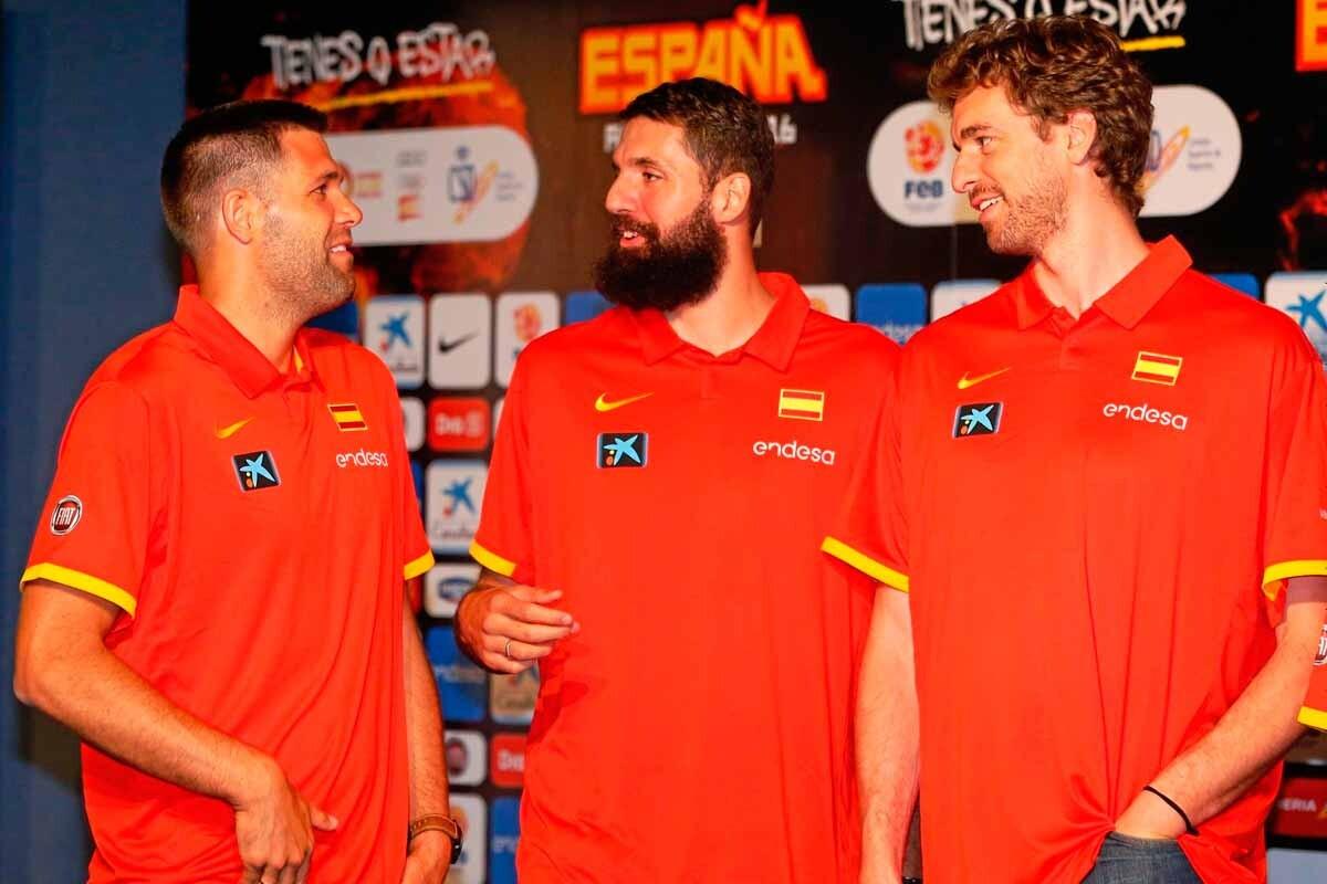 Felipe Reyes, Nikola Mirotic y Pau Gasol