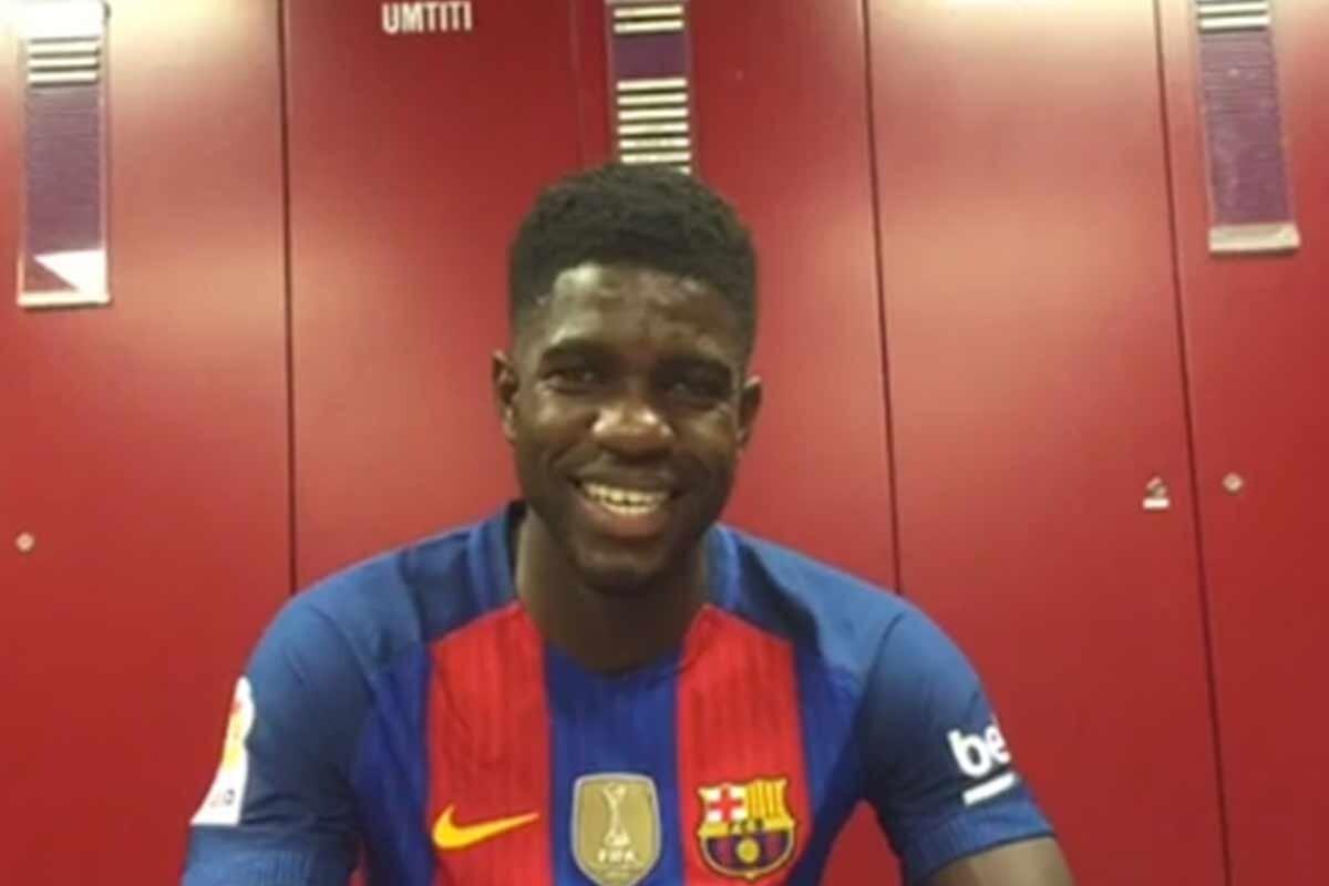 Samuel Umtiti, en el vestuario del Barcelona