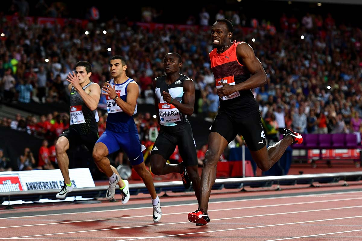 Usain Bolt y Bruno Hortelano en la Diamond League de Londres