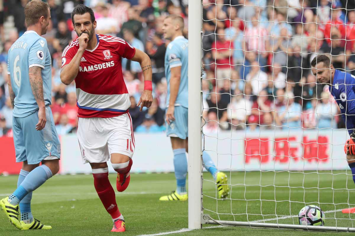 Alvaro Negredo celebra un gol con el Middlesbrough