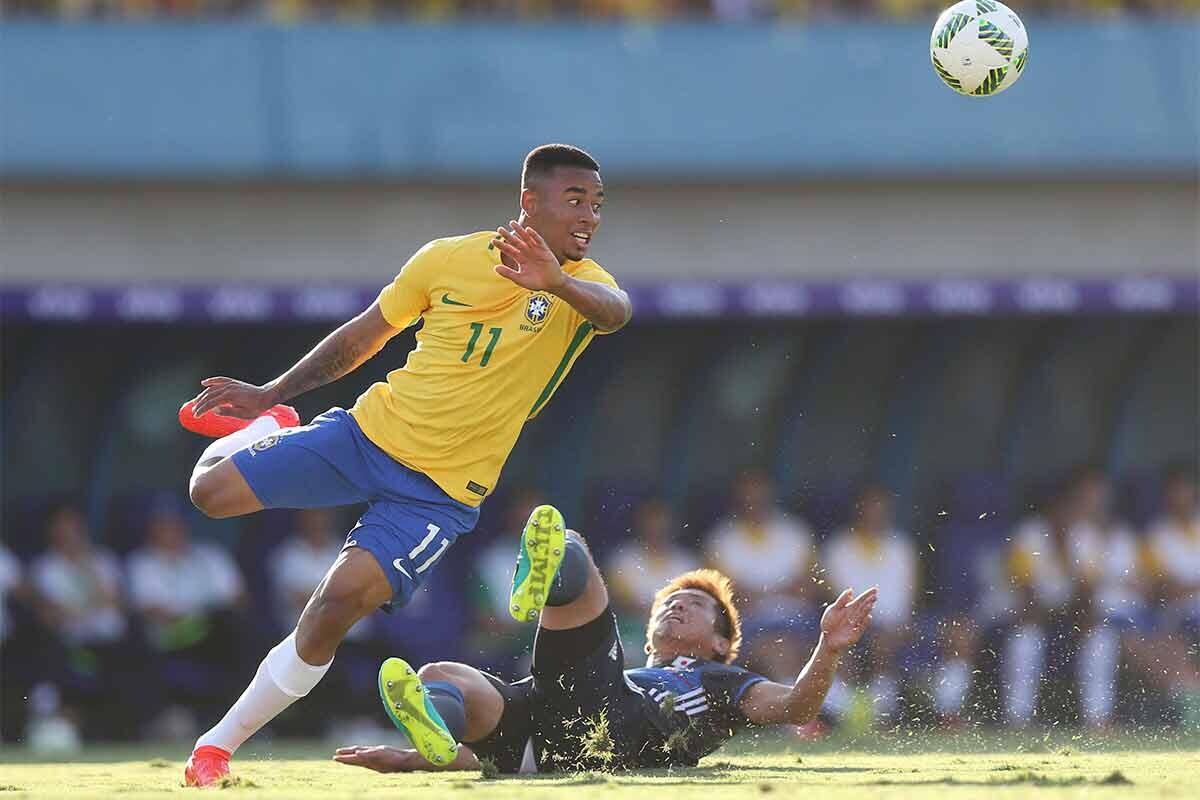 Gabriel Jesús, en un partido con la selección brasileña