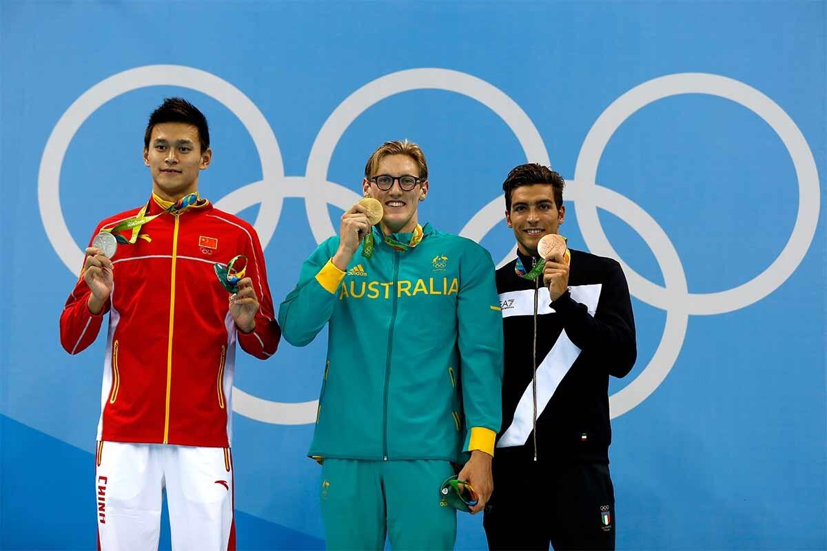 El podio de los 400 metros estilo libre en Río 2016