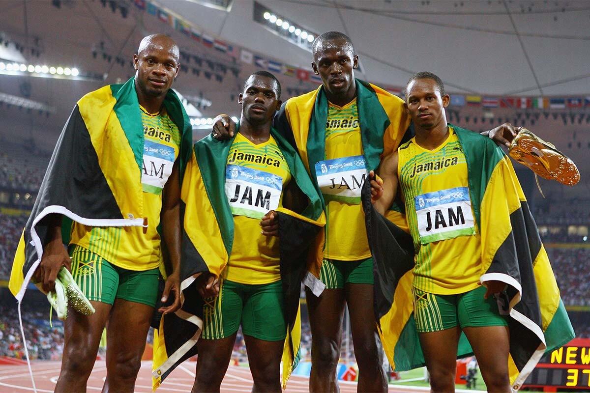 Relevo jamaicano que ganó el oro en el 4x100 en Pekín 2008