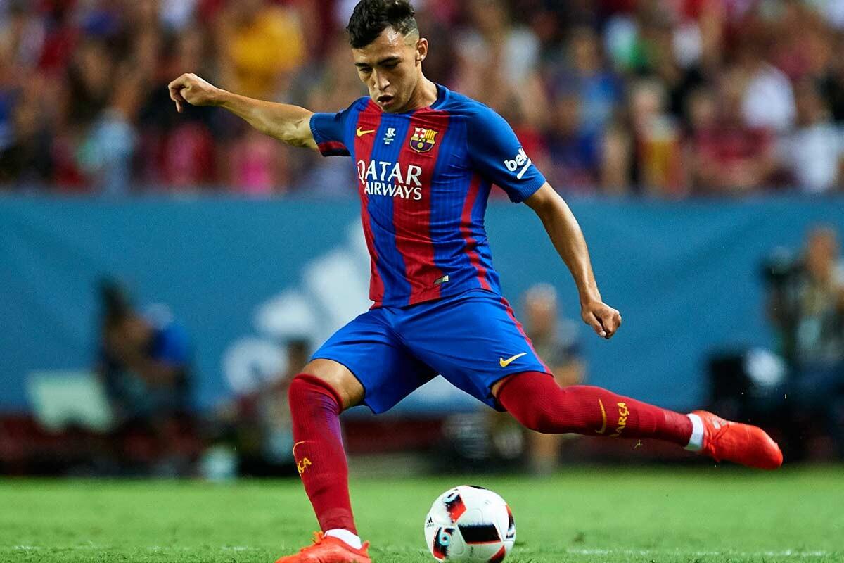 Munir El Haddadi con la camiseta del barcelona