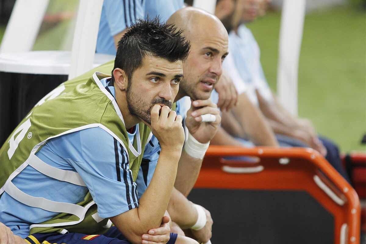 David Villa y Pepe Reina