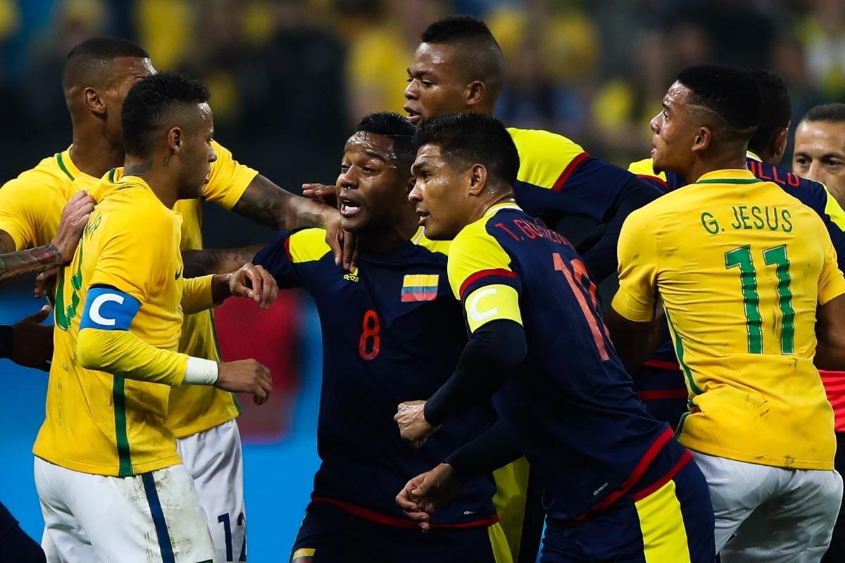 bronca brasil colombia