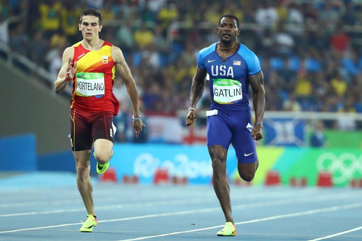 Bruno Hortelano y Justin Gatlin en la semi de 200m