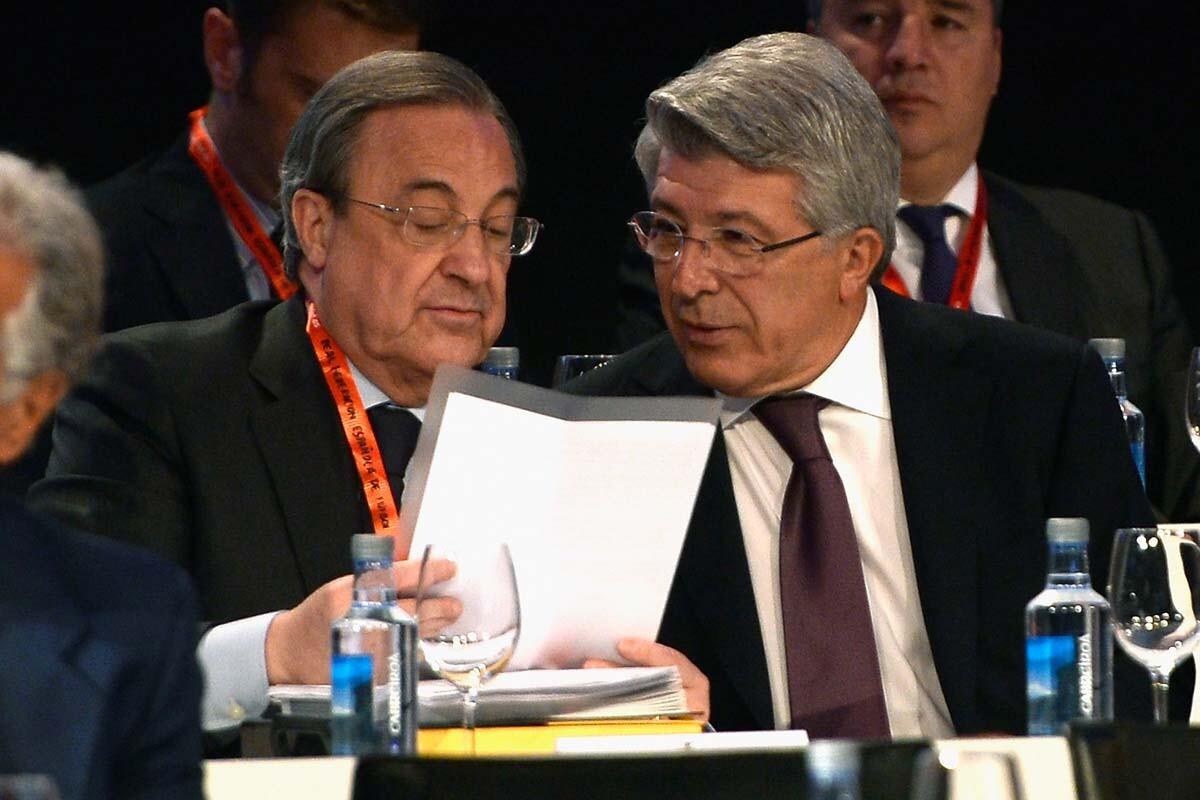 Florentino Pérez y Enrique Cerezo, presidentes de Real y Atlético de Madrid