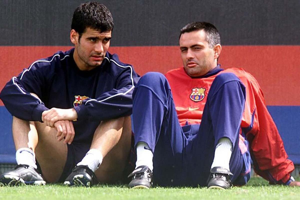 Guardiola y Mourinho, en su época en el Barcelona