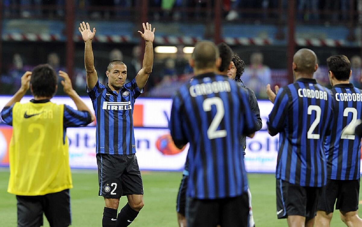 Iván Córdoba en el partido de despedida del Inter de Milán