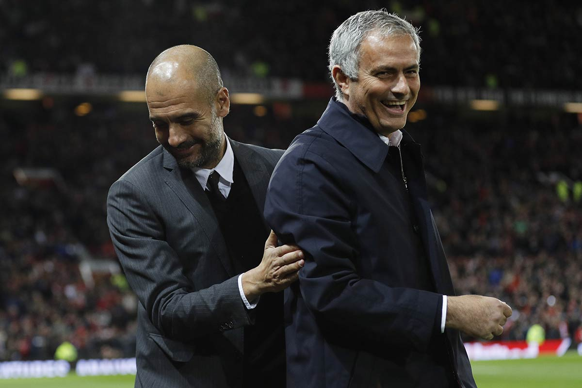 Guardiola y Mourinho en Old Trafford