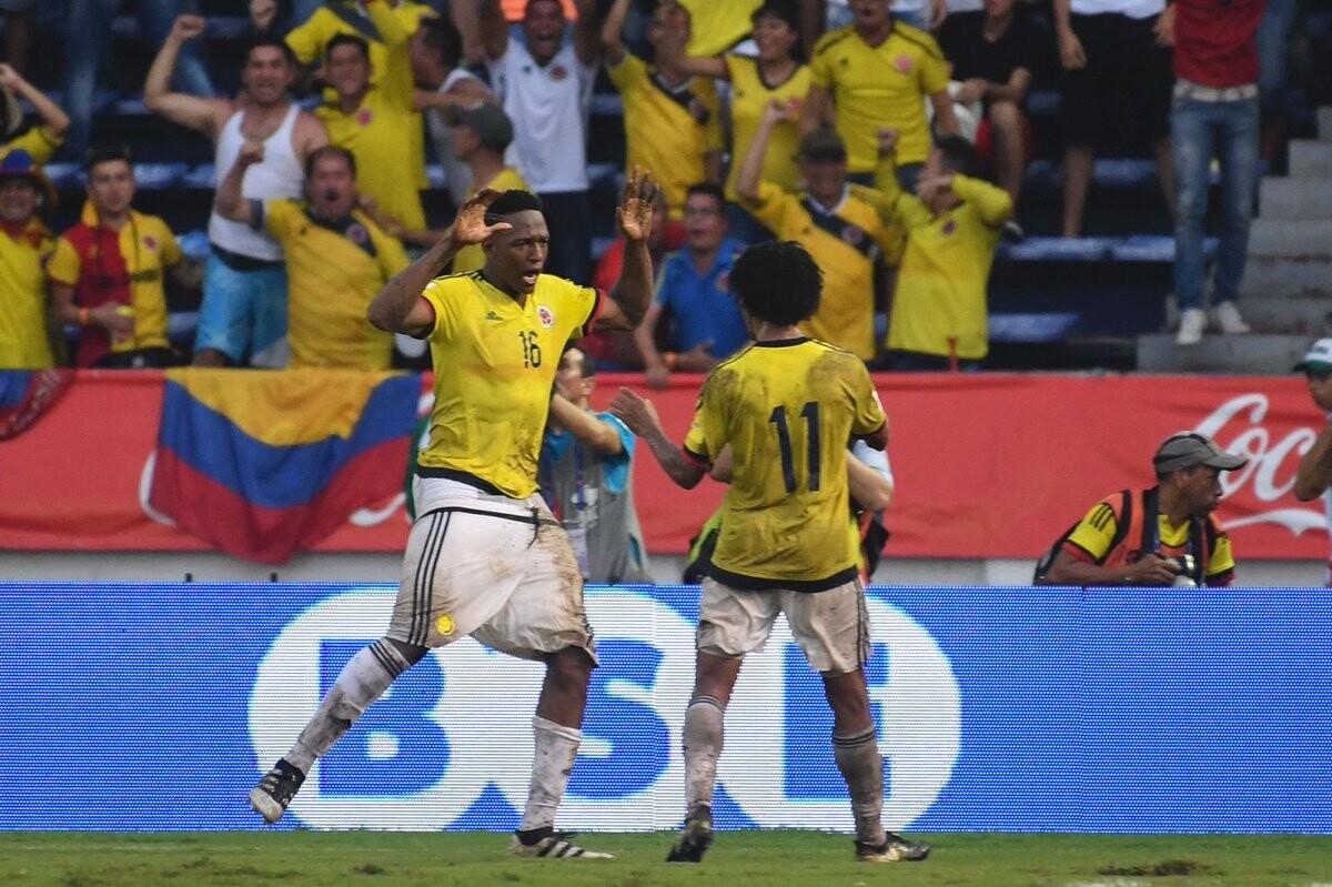 Yerry Mina celebrando su primer gol con la selección colombiana